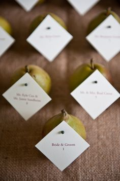Pears pinned with escort cards    Photography by paigehillerphotography.com, Floral Design   Event Coordination by jasperandprudence.com