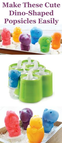 Do your kids love homemade popsicles? They are easy to make, and you can control the ingredients in them, and now they can be ultra-cute as well! These dino shaped popsicle molds easily make these six shapes, using silicone molds.