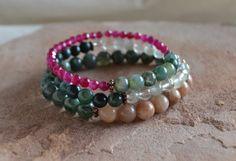 Set of 3 Layering Bracelets Natural by GratefulHeartBazaar on Etsy