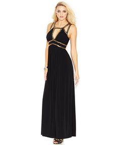 GUESS Sleeveless Gold-Bead Cutout Gown - Juniors Dresses - Macy's