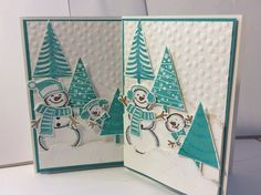 Snowmen hiding in the Trees. Stampin' Up! Snow Friends, Snow Place, Bermuda Bay, Dotty Embossing Folder and Dazzling Details. Festival of Trees and Tree punch. Cute Christmas card.