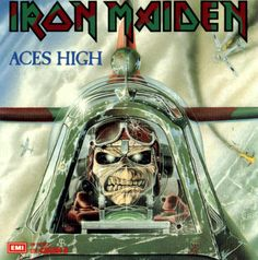 Heavy Metal and Gothic Art - Iron Maiden Album Cover Art Wallpapers - Gothic and Heavy Metal Artwork : Iron Maiden Aces High Skull Pilot Artwork 2 Iron Maiden Album Covers, Iron Maiden Cover, Iron Maiden Albums, Eddie Iron Maiden, Iron Maiden Aces High, Iron Maiden Powerslave, Rock Bands, Metal Bands, Jack Kirby