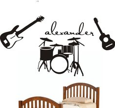 Hey, I found this really awesome Etsy listing at https://www.etsy.com/listing/67036424/music-guitars-drums-theme-personalized