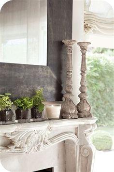 fireplace, large candle sticks