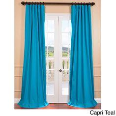 Exclusive Fabrics Premium Cotton Twill Curtain Panel (84 - Capri Teal), Blue, Size 50 x 84