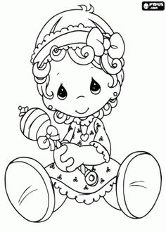Precious baby with the rattle in the hand coloring page