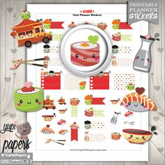 Sushi Stickers, Planner Stickers, Kawaii Stickers, Cute Stickers, Food Truck, Oriental Food, Chinese Food, Planner Accessories, Chopsticks