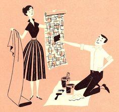 Midcentury how-to and cookbook illustration mid-century styl Art And Illustration, Gravure Illustration, Retro Kunst, Retro Art, Vintage Images, Vintage Art, Vintage Ephemera, Vintage Stuff, Vintage Books