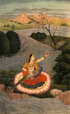 Sorathi ragini. Reducing separation, peacocks are symbolic lovers. The heroine encourages the peahen in the tree to join the peacock in her lap. Kangra, India miniature painting.