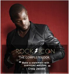 The Complete Rock icon look at American Swiss. Oversized Watches, Mens Trends, Get The Look, Movie Stars, Black Leather, African, Pairs, Mens Fashion, Rock