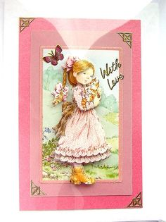 Cuddles  HandCrafted 3D Decoupage Card  With Love by SunnyCrystals, £2.25