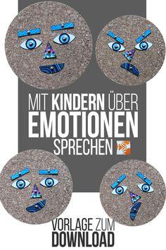 Mit Kindern über Emotionen sprechen: Gefühle sind abstrakt. Dieses leicht nachzumachende Emotionen-Gesicht hilft beim Gespräch über Gefühle. Vorlage zum Ausdrucken | Download | Muttis Nähkästchen