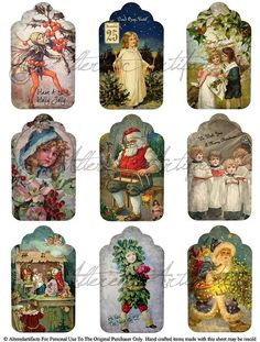 Gift tags from public domain clip art