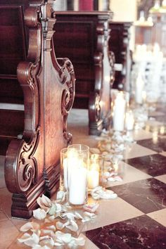 ❥ beautiful wedding decor, blossoms and candlelight but with multicolored petals instead...