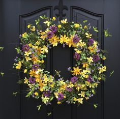 spring wreaths yellow daisy wreath spring front by