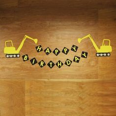 "For those kiddos who love BIG trucks and construction sites, this XL excavator banner is the perfect way to say ""Happy Birthday""! Banner can be customized to add the birthday boy, or girl's name. Construction Party Decorations, Construction Birthday Parties, Construction Theme, 3rd Birthday Parties, Boy Birthday, Happy Birthday, 1st Birthdays, Birthday Wishes, Birthday Ideas"