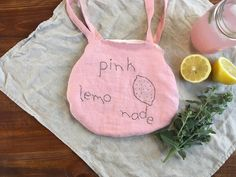 NEW Linen bag hand embroidered purse pink linen handmade
