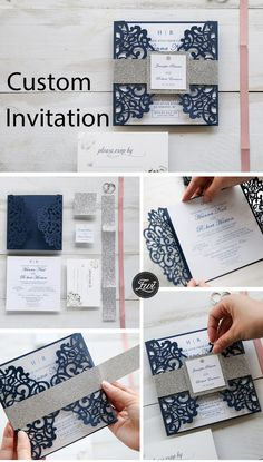Classic blue and silver wedding invitation with belly band and custom tags