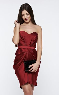 Ana Radu burgundy from satin fabric texture dress luxurious with push-up cups from wrinkled fabric Fabric Textures, Product Label, Satin Fabric, Push Up, Burgundy, Luxury, Formal Dresses, Modern, Clothes