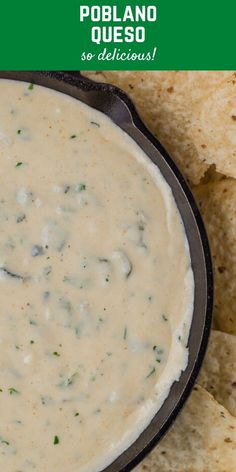 Creamy poblano queso dip, studded with flavorful roasted poblano peppers, is pleasantly spicy but not fiery. Enjoy it as a dip or a topping for tacos or nachos. Spicy Recipes, Mexican Food Recipes, Cooking Recipes, Dip Recipes, Appetizer Recipes, Recipies, Dinner Recipes, Appetizers, Roasted Poblano Peppers