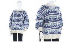 Vintage Wool Cowichan Sweater Unisex Chucky Knit Handmade Sweater Size Large