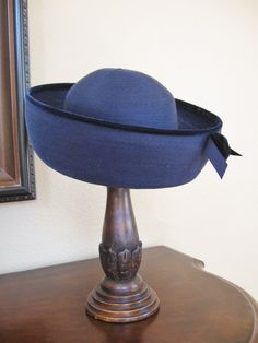 413066e8660 Vintage Mr John Jr Navy Blue Straw Bowler Hat with by valeriecade