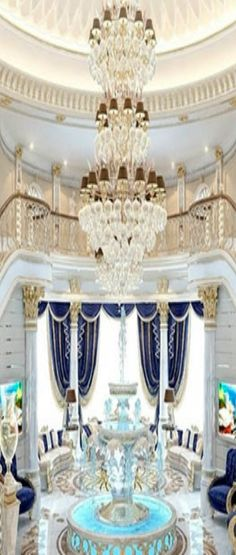 ۩ Hanging Crystals, Classic Interior, Luxury Homes Interior, Villas, Chandelier, Ceiling Lights, Interiors, Living Room, Awesome