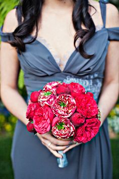 Dramatic red bouquet with stunning gray bridesmaid dress, planning by Mindy Weiss, photos by Joy Marie Photography | junebugweddings.com