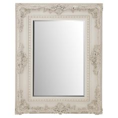Add depth to your master suite or living room with this wood-framed wall mirror, showcasing embossed scrolling details and a crisp white finish.