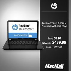 Save 32% on an #HP Pavilion TouchSmart 2.1 GHz notebook with 8GB RAM at MacMall. #DailyDeal