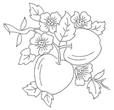 vintage apple blossoms free embroidery pattern