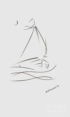 Sailing Drawing - Simple Sailboat Drawing by Mario  Perez