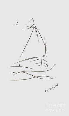 Sailing Drawing - Simple Sailboat Drawing by Mario  Perez