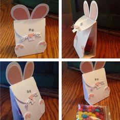 lapin de Pâques DIY sur un sachet en carton