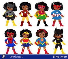 Girls Superhero clip art Supergirl clipart African by Alefclipart Superhero Clipart, Superhero Party, Girl Superhero Costumes, Superhero Classroom, Scrapbook Kit, Batgirl, Supergirl, Logo Superman, Super Heroine