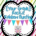 Decorate your classroom with a fun rainbow bunting!  Includes flags for pre-k through 8th grade!...