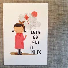 'fly a kite' girl print