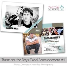 These are the Days Grad Announcement custom photoshop templates for photographers Graduation Templates, Senior Boys, Graduation Announcements, You Are Invited, Custom Photo, Open House, Photo Cards, Photographers, Photoshop