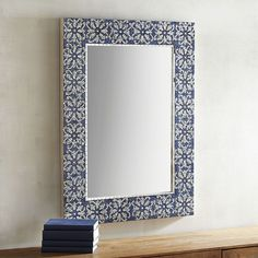 Evoking the Greek Isles, our fabulous mirror features blue and white glass tiles hand-fitted to resemble those iconic mosaics that abound in antiquity. Behold: A mirror of generous proportions that looks stunning in any room. Gaze and be inspired.
