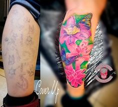 #coverup in Arbeit. #flower #butterfly #lilien #lily #tattoo #ink #love #luckyheads #tattooitzehoe #flowertattoo Head Tattoos, Flyer, Tattoo Ink, Watercolor Tattoo, Cover Up, Butterfly, Lilies, Butterflies, Temp Tattoo