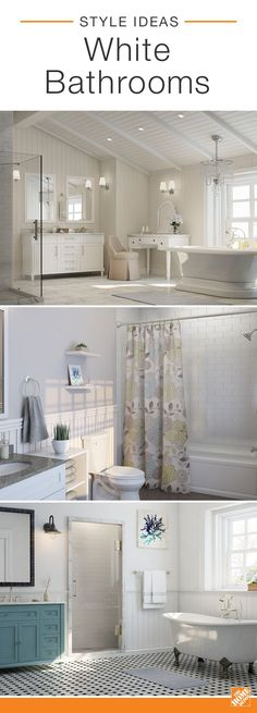 Bright, white bathrooms are classic because the clean color opens up small spaces and makes larger master baths feel fresh and inviting. Give this on-trend look visual interest with pops of color, playful textures and unexpected decor. Bathroom Renos, Bathroom Interior, Small Bathroom, Master Bathroom, White Bathrooms, Master Baths, Paint Bathroom, Bathroom Ideas, Wainscoting Bathroom