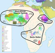 The empires of Africa, before colonialism. This map of indigenous African empires is not exhaustive. It spans two thousands years from 500 B. to 1500 A., so these empires were not concurrent; some existed centuries apart. African Culture, African American History, Songhai Empire, African Empires, Historical Maps, World History, Ancient History, Black History, Social Studies
