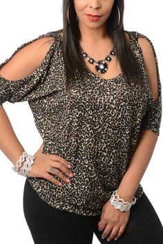 Leopard Plus Size Sexy Animal Print Cold Shoulder Top