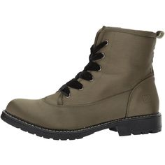 Dirty Laundry Rosario Satin (Olive) Women's Lace-up Boots (89 AUD) ❤ liked on Polyvore featuring shoes, boots, ankle boots, army boots, army green boots, laced boots, short boots and laced up ankle boots