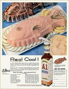 The Most Horrifying Recipes Ever Featured In Vintage Ads Tuna Fish Mold - Seriously, what is with this obsession with gelatin? Mashed-up tuna mixed with Jell-O and molded into a fish shape? Topped with Barf. Jello Recipes, Old Recipes, Cooking Recipes, 1950s Recipes, Gelatin Recipes, Party Recipes, Family Recipes, Fish Recipes, Seafood Recipes