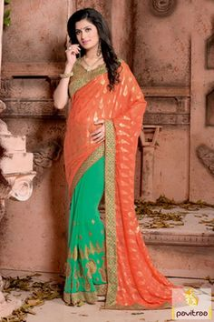 Buy orange color party wear saree online at lower price. This beautiful saree with golden color blouse its looking great combination for any party and wedding lady. #saree, #designersaree more: http://www.pavitraa.in/store/casual-saree/