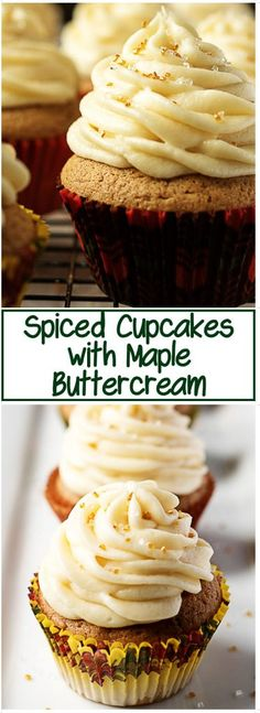Spiced cupcakes with maple buttercream are a wonderfully sweet dessert filled with the warm flavors of Fall. Cinnamon, nutmeg, and ginger mix perfectly with the subtle flavor of maple. #Spicedcupcakes #maplebuttercream #buttercream #cupcakes #fallrecipe #dessert #maple #buttercream #berlyskitchen via @berlyskitchen