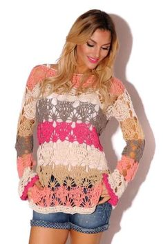 """diy_crafts-Prendas tejidas a crochet """"Colourful crochet top for inspiration"""", """"~ don't care for their color choices but I LOVE the pattern! Moda Crochet, Crochet Tunic, Cute Crochet, Crochet Crafts, Crochet Clothes, Crochet Lace, Crochet Designs, Crochet Patterns, Lace Cardigan"""