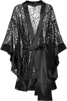 KIKI DE MONTPARNASEE Amour Satintrimmed Chantilly Lace Kimono