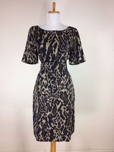Elie Tahari Sheath Dress Animal Print Career Work Size 12 Leopard Black Brown #ElieTahari #Sheath #WeartoWork